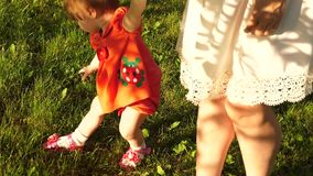 Little girl breaks green grass with her hands and holds her mother by hand. Mom and little daughter are walking on a stock video footage