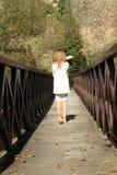 Little girl on bridge Royalty Free Stock Photo
