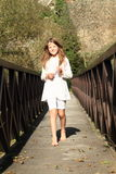 Little girl on bridge Royalty Free Stock Images
