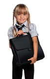 Little girl with briefcase Royalty Free Stock Images