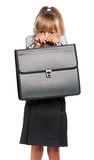 Little girl with briefcase Stock Image