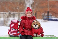 Little girl walks with her beloved puppy shih tzu. Little girl with a briefcase and a dog after school winter day for a walk Stock Photos