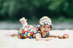 Little girl with bright colorful dress Stock Image