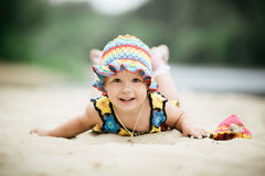 Little girl with bright colorful dress Stock Photo