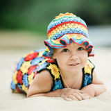 Little girl with bright colorful dress Stock Photography