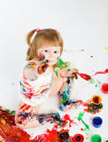Little girl and bright colors Royalty Free Stock Photo