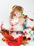 Little girl and bright colors Royalty Free Stock Photography