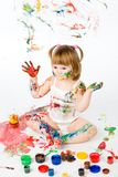 Little girl and bright colors Stock Images