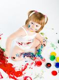 Little girl and bright colors Stock Photo