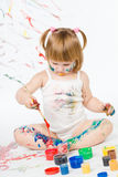 Little girl and bright colors Stock Photos