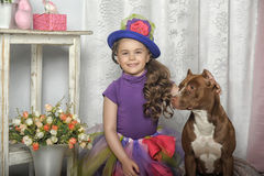 Little  girl in a bright dress Stock Image