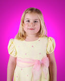 Little Girl on Bright Pink Royalty Free Stock Photos