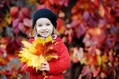 Little girl in bright red coat at autumn Stock Photos