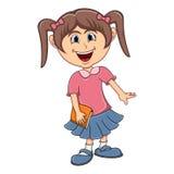 Little girl bring a book cartoon Stock Photography
