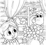 Little girl and brown bear. Black-and-white illustration (coloring page): characters of a folk tale: little girl and brown bear look at each other through a Royalty Free Stock Image