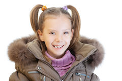 Little girl in brown jacket Stock Image