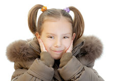 Little girl in brown jacket Stock Photo