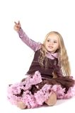 Little girl in brown and pink clothes Royalty Free Stock Photo