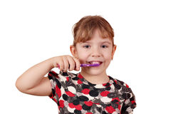 Little girl brush their teeth Royalty Free Stock Image