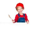 Little girl with a brush and white banner stock photography