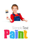 Little girl with a brush and white banner Stock Images