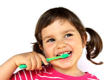 Little Girl Brushing Teeth stock image