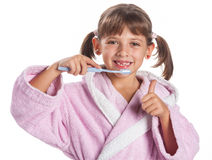 Little girl brushing teeth Stock Photo