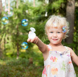 Little girl with bubbles Royalty Free Stock Photos
