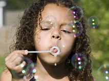 Little Girl And Bubbles Royalty Free Stock Image