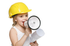 Free Little Girl Builder In Yellow Helmet Screaming Into The Loudspeaker Stock Photo - 28750600