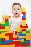 Little girl building a house Royalty Free Stock Photography