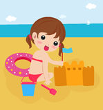 Little girl building a sand castle at the beach. Illustration Stock Photo