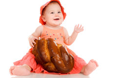 Little girl with a bun Stock Images