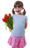 Little girl with bunch of flowers gift Stock Photography