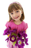 Little girl with bunch of tulips - mothers day Royalty Free Stock Photos
