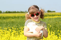 Little girl with bunny Royalty Free Stock Photo
