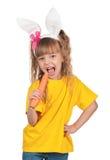 Little girl with bunny ears Stock Photo