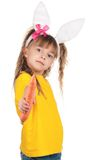 Little girl with bunny ears Royalty Free Stock Images