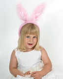 Little Girl in Bunny Ears Royalty Free Stock Photos