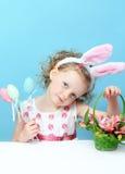 Little, fun girl with bunny ears Royalty Free Stock Photos