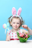 Little, fun girl with bunny ears Royalty Free Stock Photo