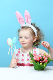 Little, fun girl with bunny ears Royalty Free Stock Images