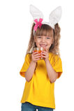 Little girl with bunny ears Stock Photography