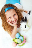 Little girl with a bunny rabbit has a easter Royalty Free Stock Images