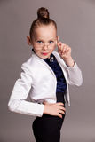 Little girl business Lady in glasses royalty free stock images