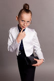 Little girl business Lady in glasses Royalty Free Stock Photos