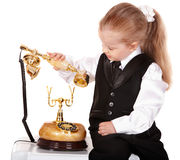 Little girl  in business suit call telephone. Stock Images