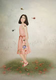 Little girl and butterflies Royalty Free Stock Photos