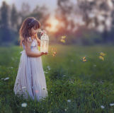 Little girl with butterflies. Fairytale portrait of Little girl with butterflies at the sunset Stock Image