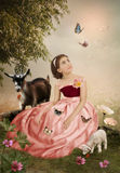 Little girl and butterflies Stock Photography